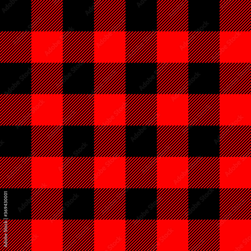 Fototapeta Tartan plaid. Scottish pattern in black and red cage. Scottish cage. Traditional Scottish checkered background. Seamless fabric texture. Vector illustration