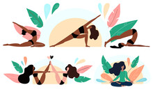 Black Girls Do Yoga. Fitness, Sports And Healthy Lifestyle Concept, Practicing Yoga, Workout. Black Lives Matter. Cartoon Flat Vector Illustration
