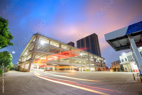 Fotografie, Obraz Night view of a three-dimensional parking lot, Beijing, China.