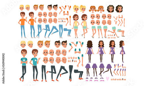 Teenage Boy and Girl Creation Set, Cute Girls and Boys with Various Haircuts, Face Emotions, Poses Cartoon Style Vector Illustration