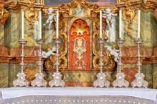 Detailansicht Eines Seitenaltars Der Wieskirche In Bayern