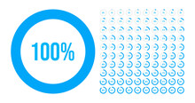Big Set Of Circle Percentage Diagrams From 0 To 100 Percent. Vector Illustration.