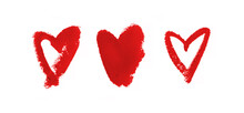 Heart Love Sign Romantic Kiss Written By Lipstick Trace Red On White Background