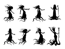 Silhouette Of Flying Evil Wome...