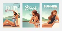 Set Of Posters With Girl Relaxing On The Beach. Summer Vacation Posters Or Flyer Design Template With Sexy Females On The Beach. Party Invitation. Modern Style. Vector Illustration