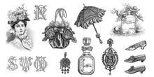 Vintage Victorian Fashion Engraving Monogram Letters