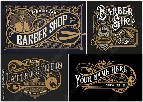 Obraz Vintage Logos organized by layers - fototapety do salonu