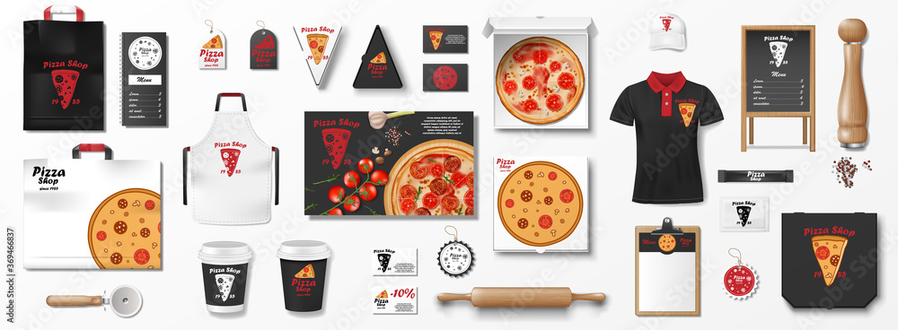 Fototapeta Mockup set for pizzeria, cafe or restaurant. Realistic branding set of pizza box, flyer, uniform, menu, cardboard pack. Pizza mockup elements for pizzeria. vector illustration