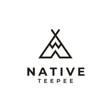 Ancient Indian Native Tent Tee Pee Logo Design With Simple Line Art Style