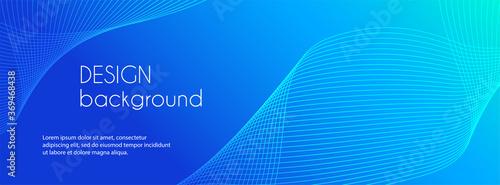 Fototapeta Abstract blue long vector banner. Wavy minimal trendy background for business presentations, web header design obraz