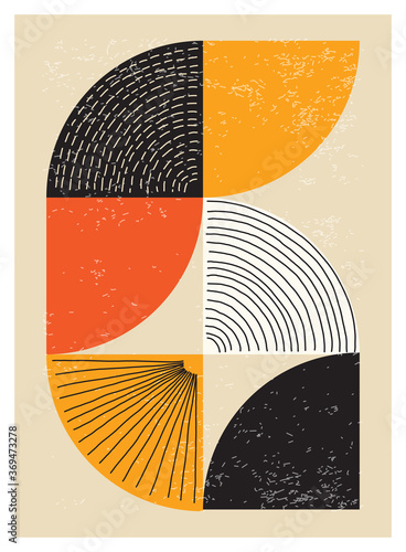 Valokuva Minimal 20s geometric design poster, vector template with primitive shapes