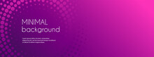 Abstract Long Banner Vector Template For Social Media. Minimal Gradient Background With Halftone Circles