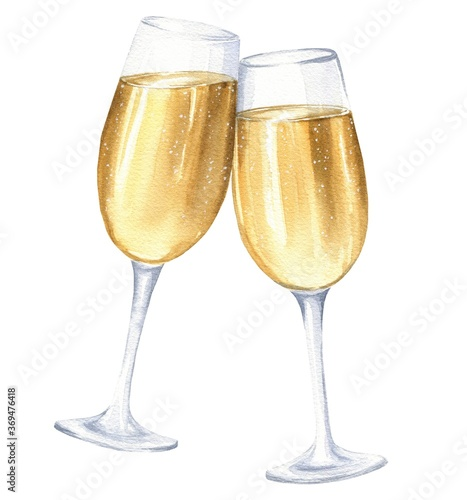 Fényképezés Hand drawn watercolor two glasses of champagne isolated on white back