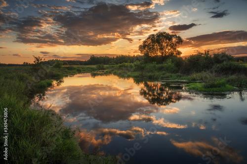 Obraz Sunset over the Liwiec river near Siedlce, Masovia, Poland - fototapety do salonu