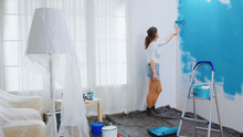 Caucasian Woman Redecorating A...
