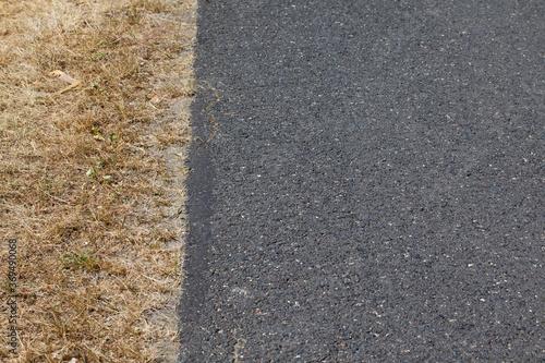 Obraz Fragment wąskiej asfaltowej drogi na wsi wraz z trawiastym poboczem spalonym od słońca. - fototapety do salonu