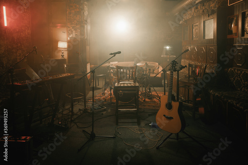 Empty stage of a small unplugged live music concert