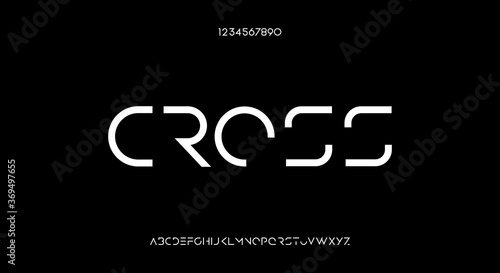 Leinwand Poster Cross, an abstract futuristic scifi alphabet font typeface design