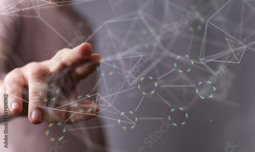 Fototapeta technology binary code interface digital touch