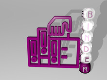 3D Illustration Of BINDER Graphics And Text Around The Icon Made By Metallic Dice Letters For The Related Meanings Of The Concept And Presentations. Business And Background