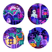 Halloween Circle Icons With Mo...