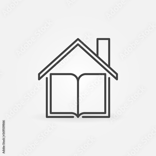 Book under the Roof linear vector Homeschooling concept icon or logo element Canvas-taulu