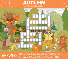 Vector Fall Season Crossword Puzzle For Kids. Simple Quiz With Autumn Forest Objects For Children. Educational Activity With Cute Funny Woodland Animals.