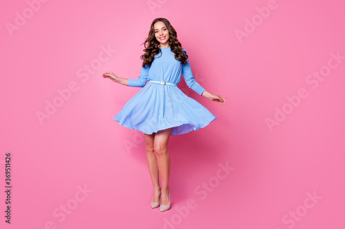 Full length body size view of her she nice-looking attractive pretty stunning cheerful cheery feminine carefree wavy-haired lady posing enjoying good day isolated over pink pastel color background
