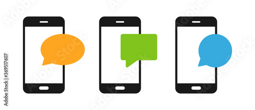Notification message on the smartphone set icon Fototapet