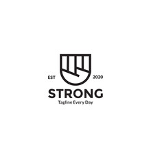 Hands Clenched Line For Strong And Spirit Logo Design