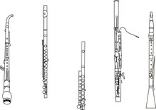Black Line Drawings Of Outline English Horn, Flute, Piccolo, Bassoon And Oboe Musical Instrument Contour On A White Background