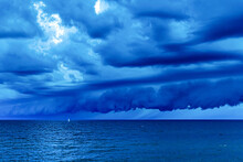 Sailboat In A Storm On Lake Michigan