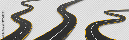 Cuadros en Lienzo Road, winding highway isolated on transparent background