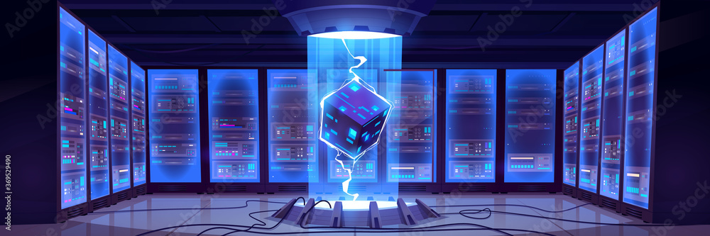 Fototapeta Vector cartoon interior of future data center room with server hardware and hologram of processor. Concept of bigdata technology, cloud information base, artificial intelligence