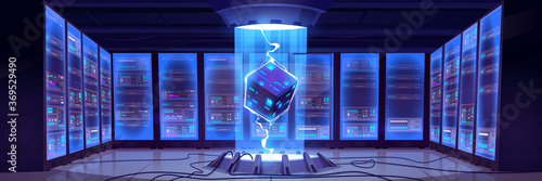 Photo Vector cartoon interior of future data center room with server hardware and hologram of processor
