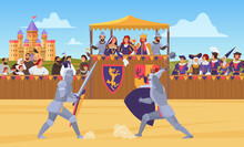 Medieval Knight Tournament Vector Illustration. Cartoon Flat Knight Characters In Body Armor Suits Fight Duel With Swords On Battlefield, Medieval Entertainment, Historical Battle Games Background