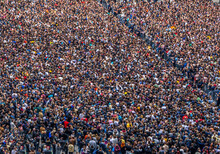 Large Crowd Of People At A Rock Concert Selective Focus, Blurred Image