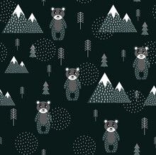 Vector Scandinavian Pattern. Animals, Bear, Wigwam, Mountains, Ascetic