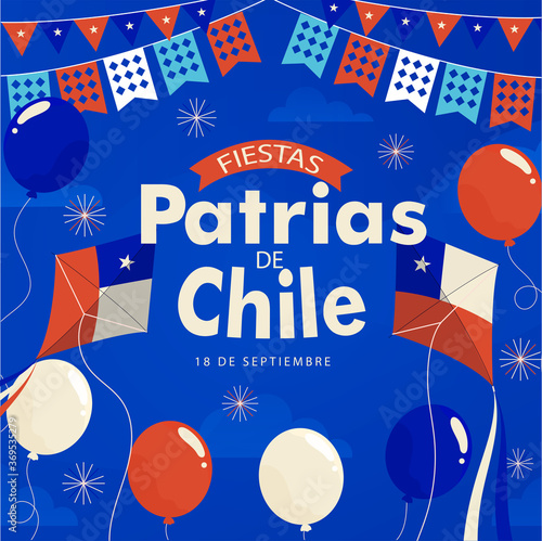 Fotografía Fiestas Patrias - National Holidays spanish text, Independence day of Chile