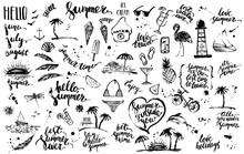 Hand Drawn Black Ink Summer Design Element Set