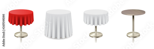 Valokuvatapetti Set restaurant round tables with tablecloth and without icon isolated