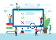 Survey of customer satisfaction. Screen with ticks and crosses. Small people characters. illustration in flat style