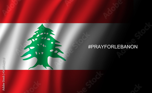 Pray for Lebanon wording hashtag to Beirut on Lebanon flag background from massi Wallpaper Mural