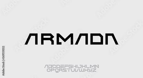 Fotografiet Armada, a geometric futuristic scifi alphabet font typeface design