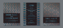 Modern Geometric Luxury Wedding Invitation Design Or Card Templates For Birthday Greeting Or Certificate Or Cover With Copper Chinese Circles On A Blue Background.