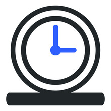 Blue Button With A Symbol Of Time