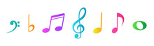 Musical Notes And Icons On Whi...