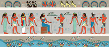 Colorful Frieze Or Panorama Banner Depicting Ancient Egyptians Around A Woman Seated On A Throne, Colored Vector Illustration