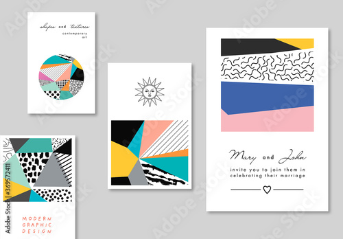 Obraz Set of  Cards with Artistic Backgrounds - fototapety do salonu