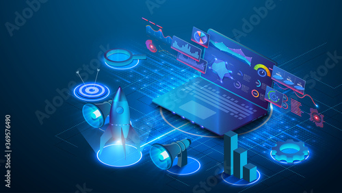 Fototapeta Investment strategies and process isometric web banner. Web page design templates collection of business solution and analysis, startup, innovative ideas, investment. Laptop with business  charts obraz
